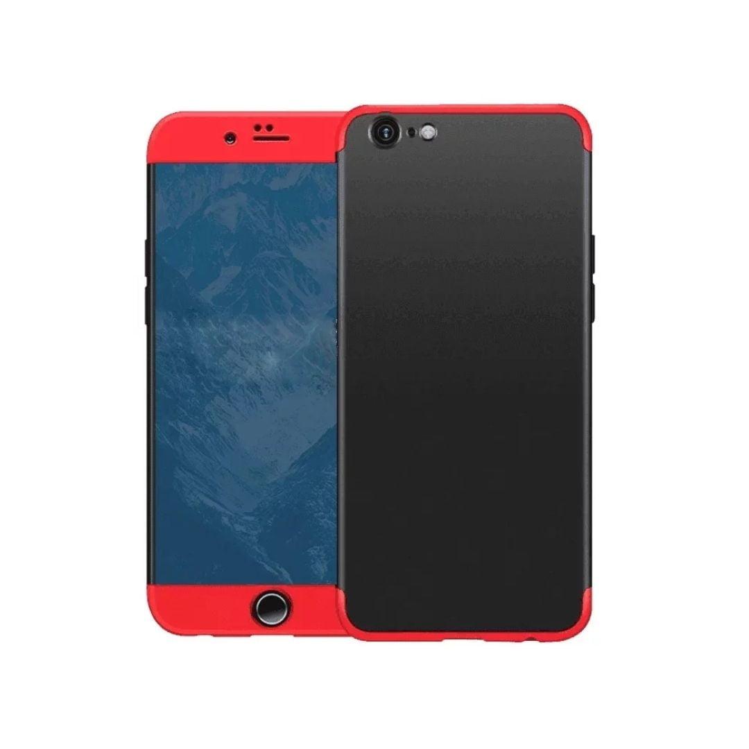 iphone 8 360 beskyttelsescover sort/rød