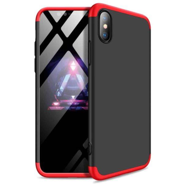 iphone-xs-360-beskyttelsescover-sort-roed-beskyttelse