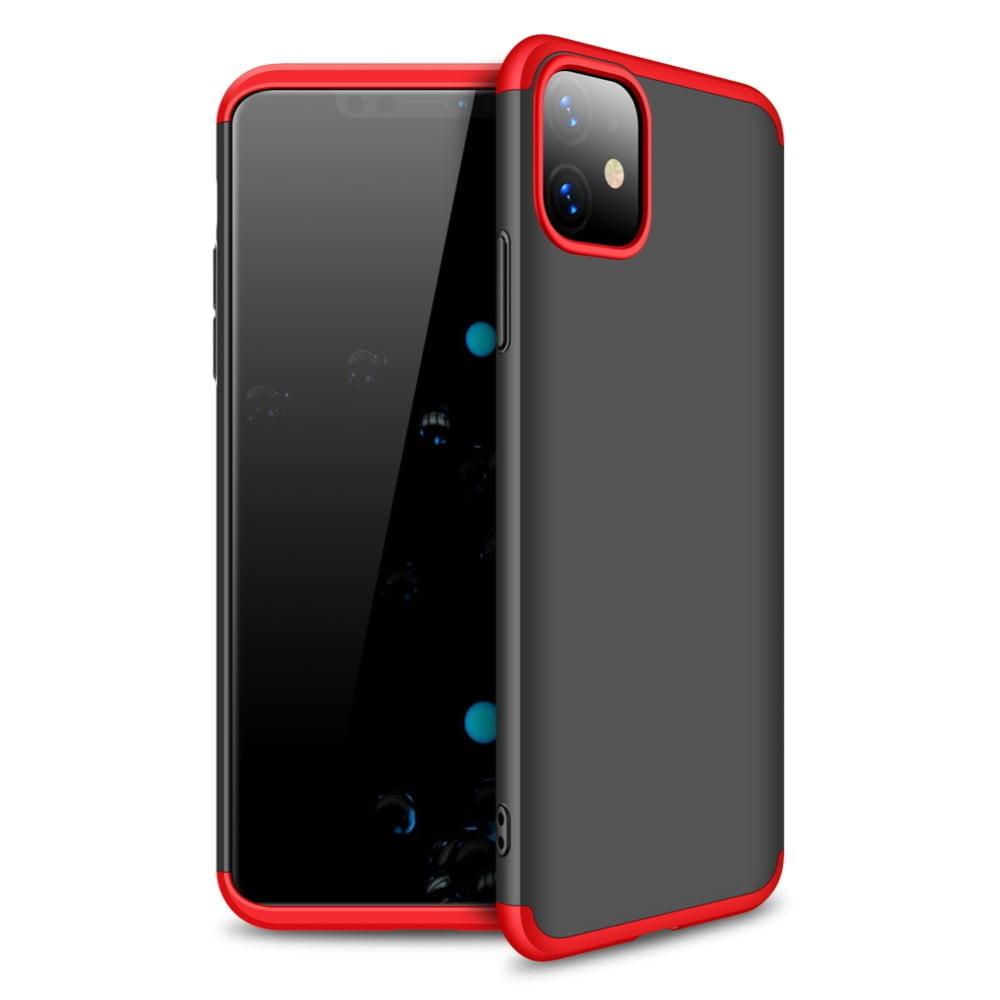 iphone 11 360 beskyttelsescover sort/rød