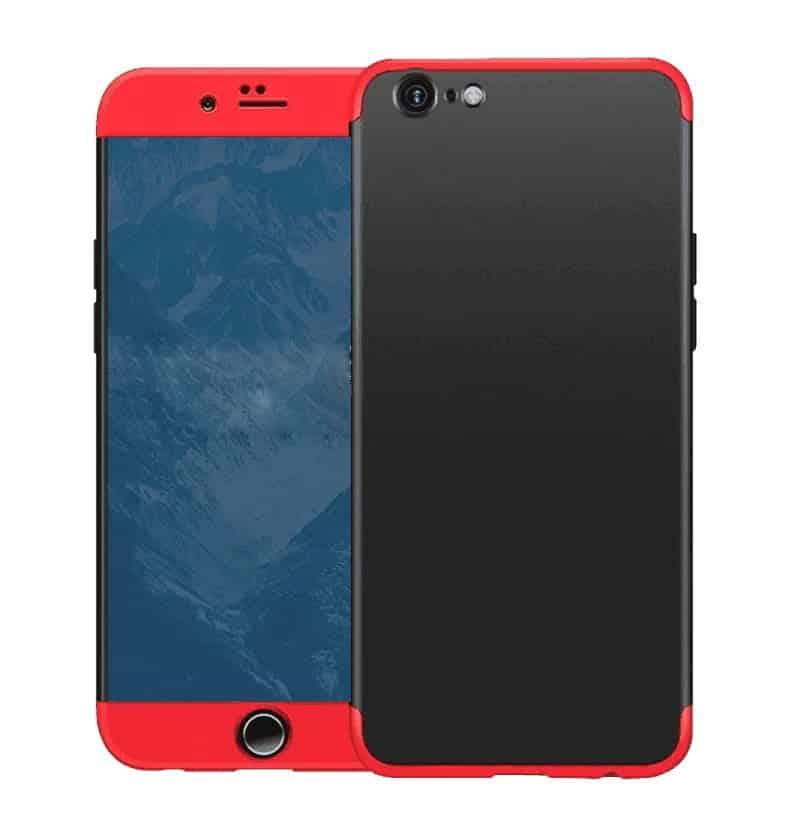 iphone se 2020 360 beskyttelsescover sort/rød