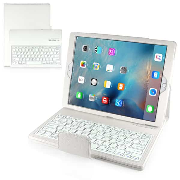 New Detachable Wireless Bluetooth Keyboard Case Lichi Pattern Leather Stand Smart Cover For Ipad Pro - White1 1