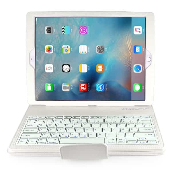 new detachable wireless bluetooth keyboard case lichi pattern leather stand smart cover for ipad pro   white6 1