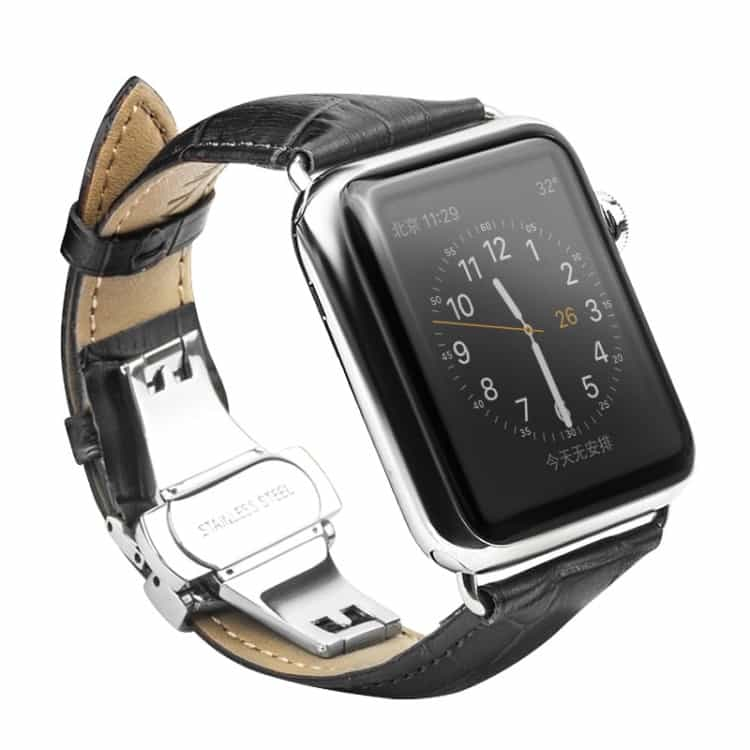 Apple Watch 42mm – QIALINO Ægte Læder Business Stil Armbånd – Sort