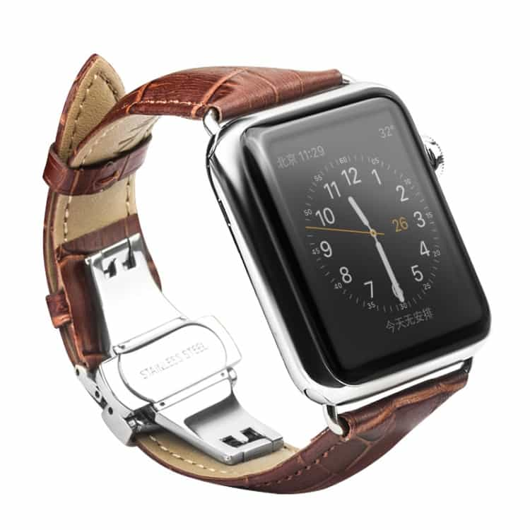 Apple Watch 42mm – QIALINO Ægte Læder Business Stil Armbånd – Brun