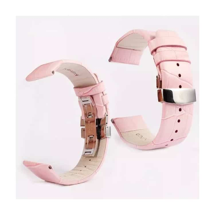Apple Watch 42mm - KAKAPI Krokodille Mønster Ægte Læder Bånd - Lyserød