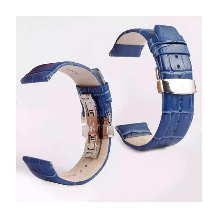 Apple Watch 42mm - KAKAPI Krokodille Mønster Ægte Læder Bånd - Blå