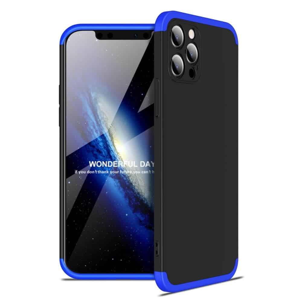 iphone 12 360 beskyttelsescover sort/blå