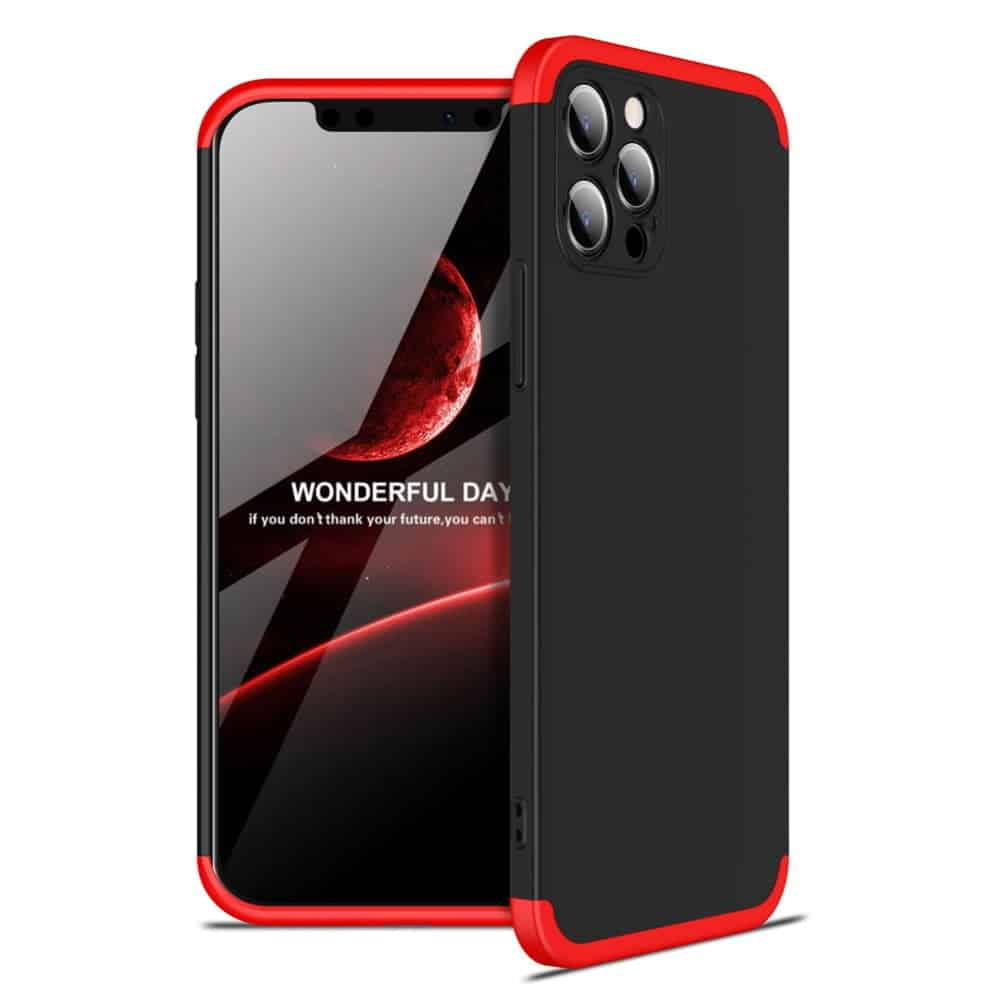 iphone 12 360 beskyttelsescover sort/rød