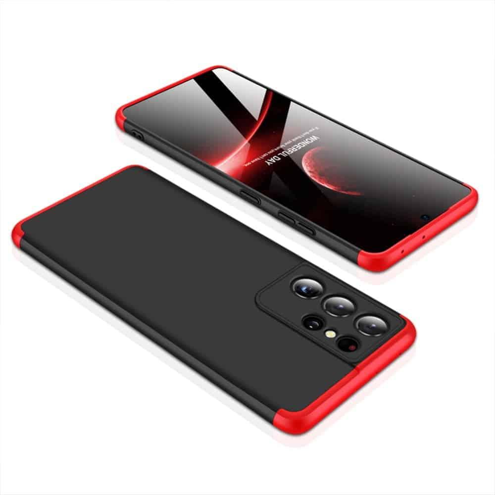 samsung s21 360 beskyttelsescover sort/rød