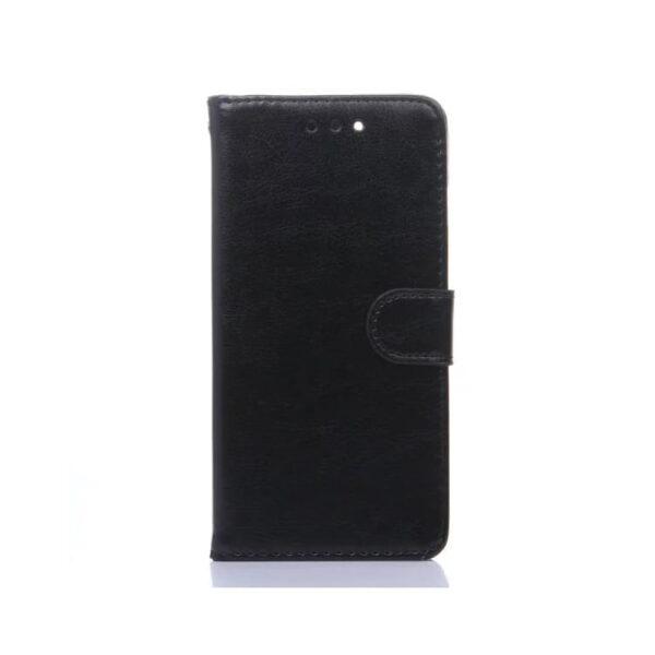 Iphone 7 Plus – Crazy Horse Pu Læder Cover Med Pung Og Kortslots – Sort
