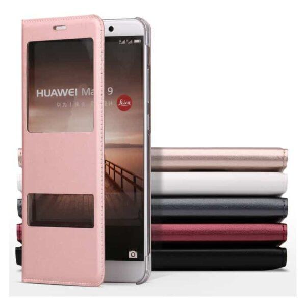 Huawei Mate 9 – Pu Læder Etui Med Dobbelt View – Sort